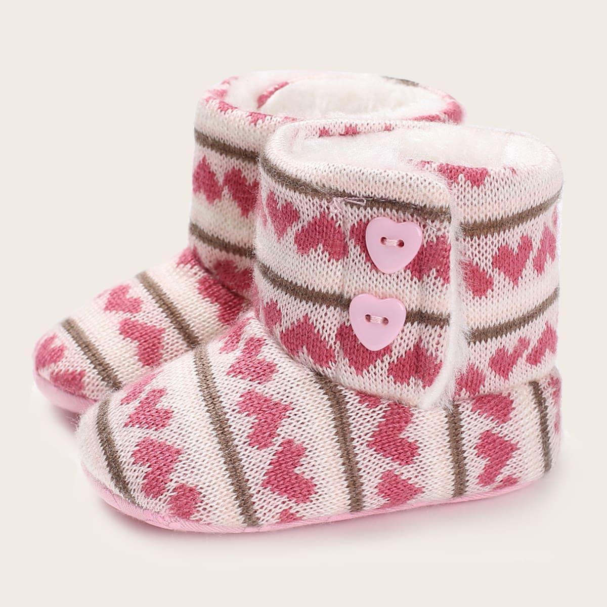 Теплые сапоги с принтом сердечка для девочек