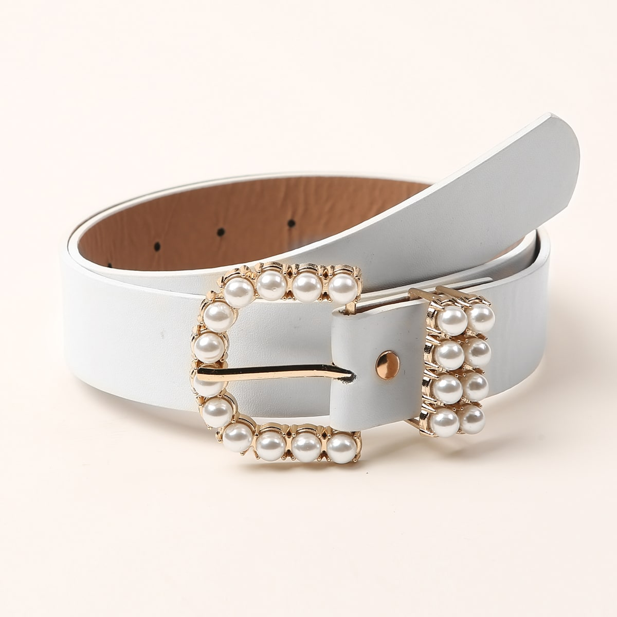 Faux Pearl Decor Metal Buckle Belt