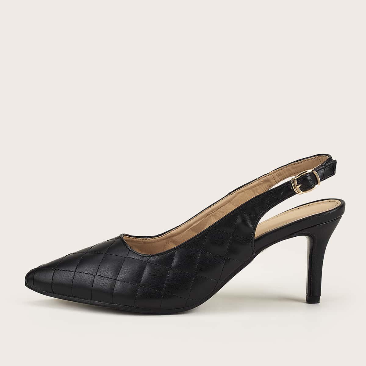 Остроконечные стеганые туфли на среднем каблуке