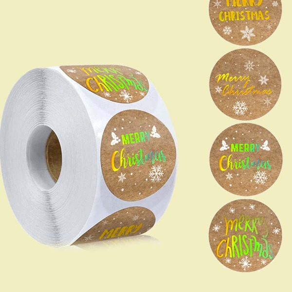 1roll Christmas Slogan Graphic Sticker, Multicolor
