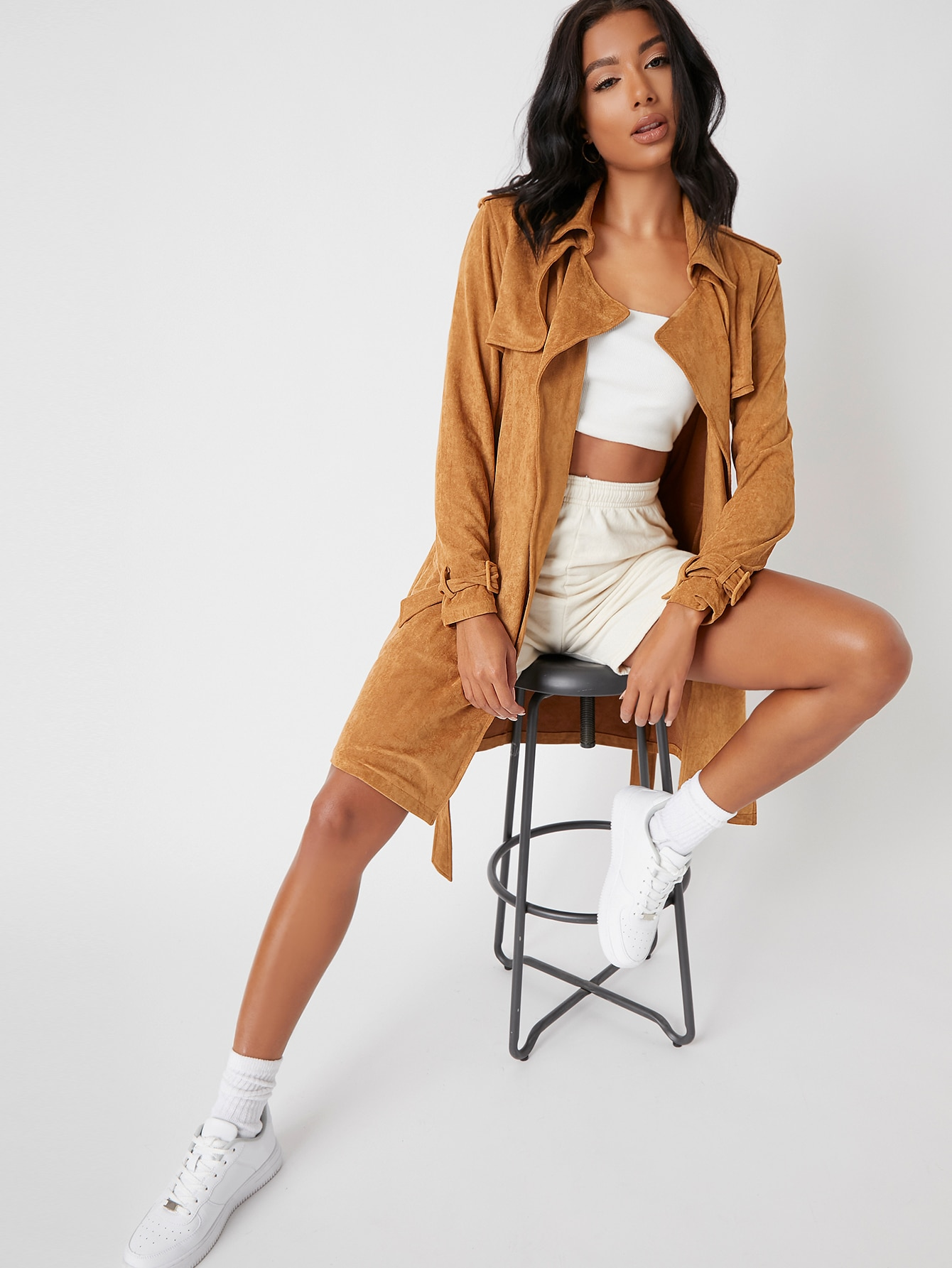 Open Front Belted Suede Coat thumbnail