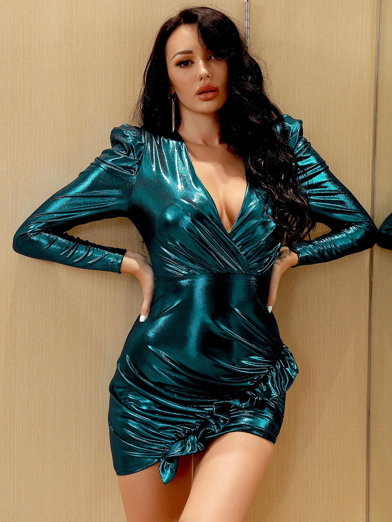 Surplice Neck Ruffle Trim Metallic Bodycon Dress thumbnail