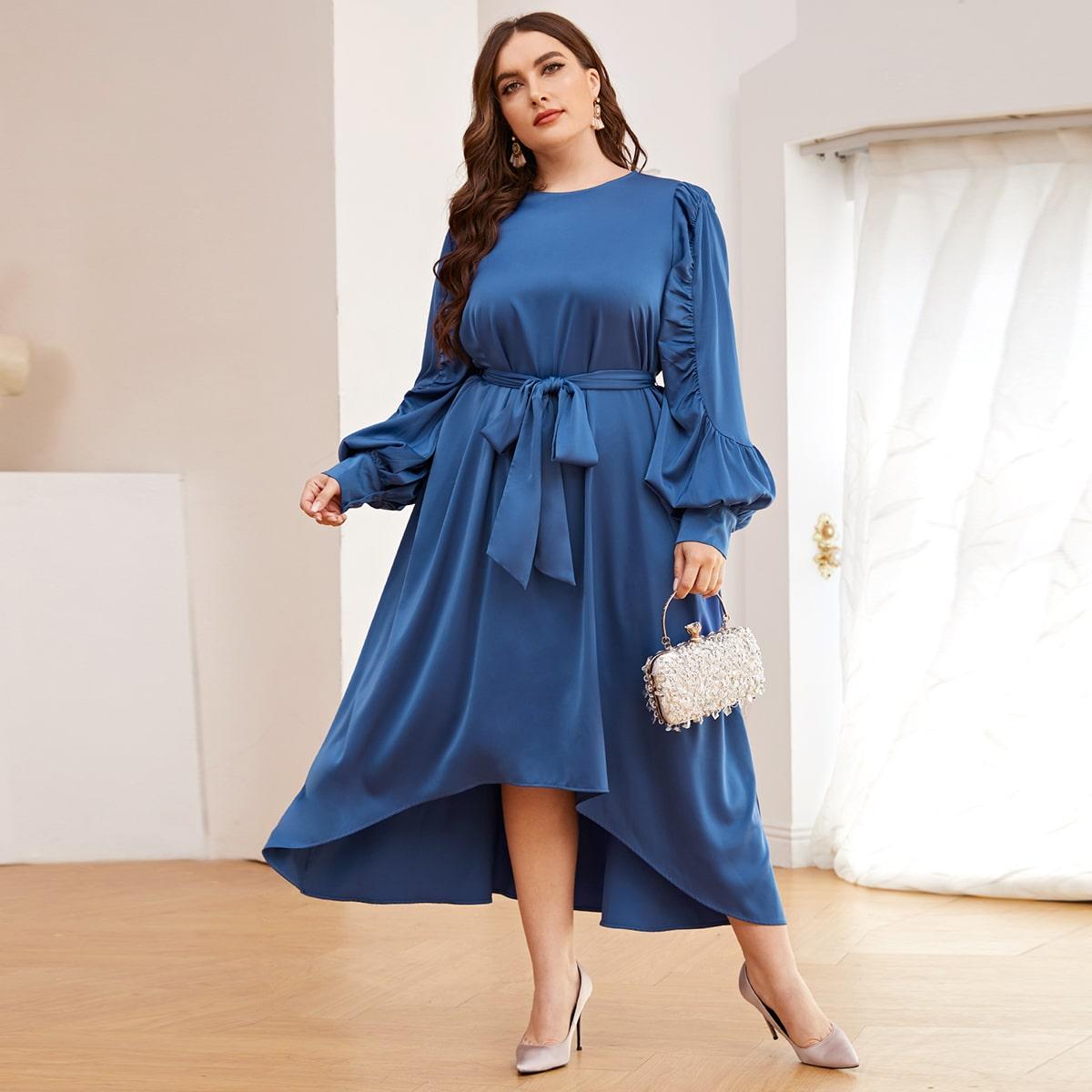 Асимметричное платье размера плюс с поясом и рукавами фонариками