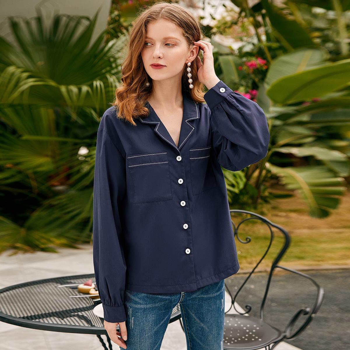 Блузка на пуговицах с карманами