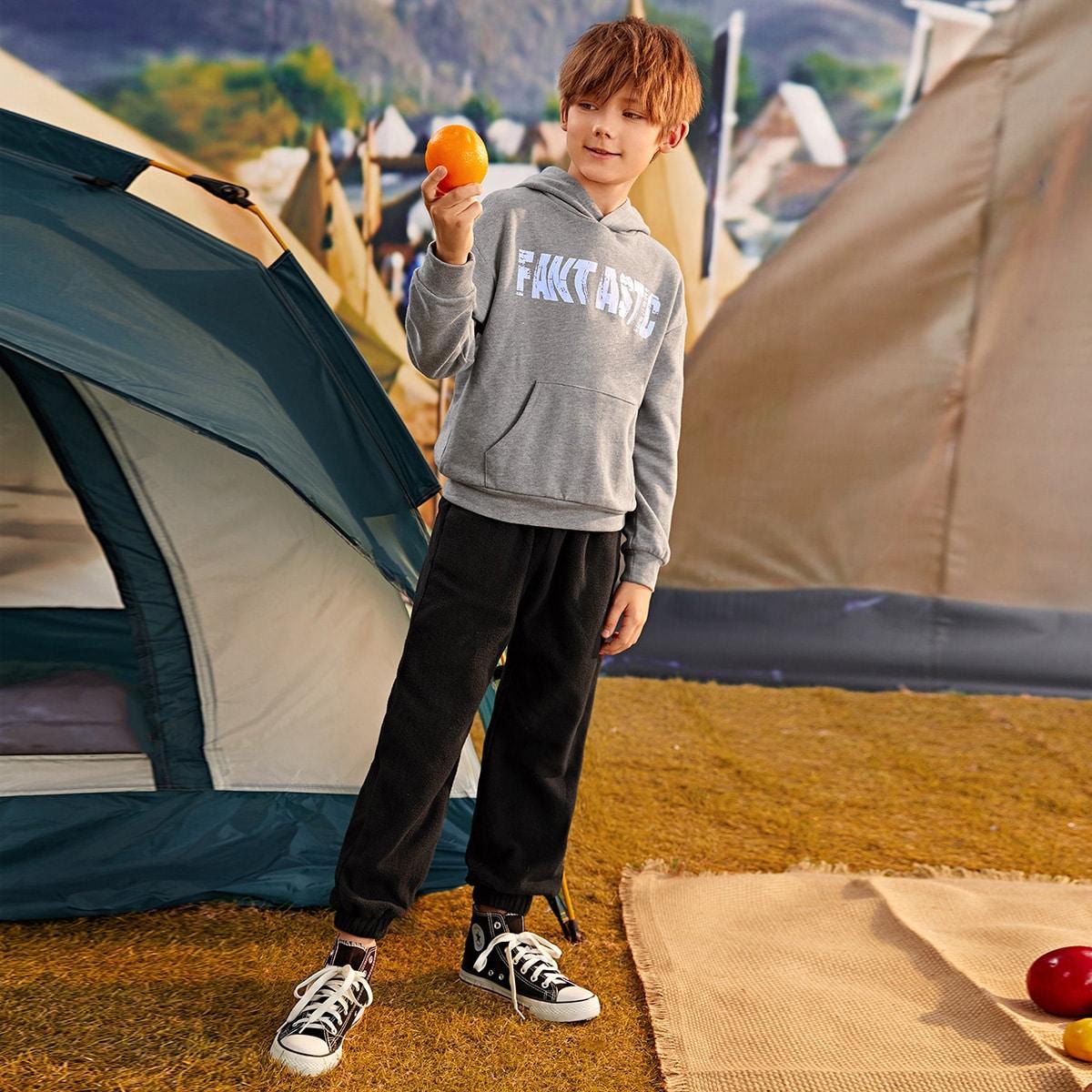 Спортивные брюки и толстовка с карманом, текстовым принтом для мальчиков