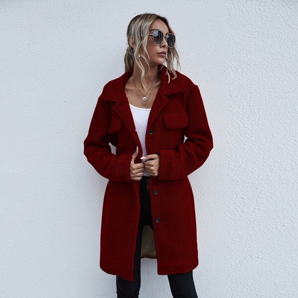 Flap Detail Button Front Belted Teddy Coat, Burgundy