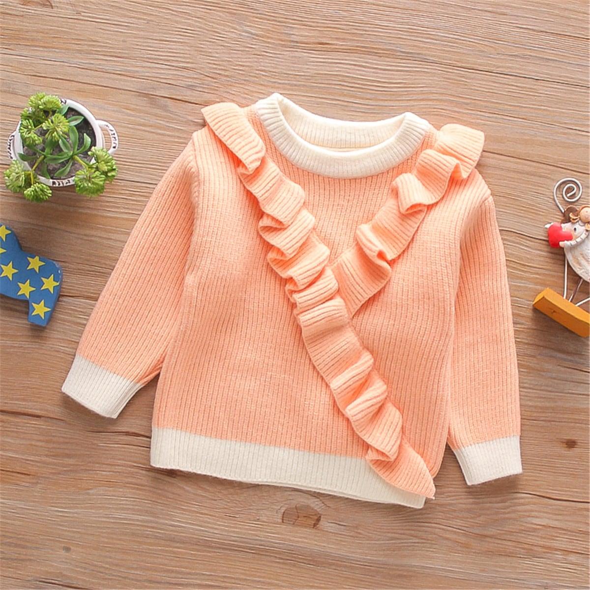 С оборками контрастный цвет повседневный свитеры для девочек