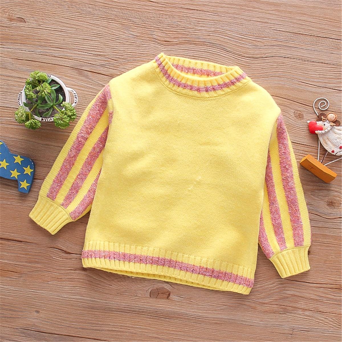Трикотажный полосатый повседневный свитеры для девочек