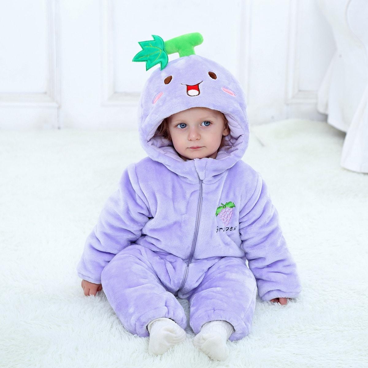 С вышивкой мультяшный принт костюм с дизайном  для малышей