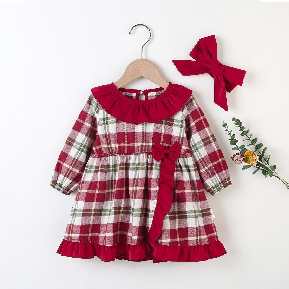 С оборками клетка милый платья для малышей