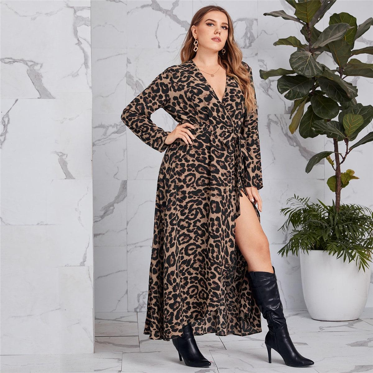 Платье размера плюс с леопардовым принтом и узлом
