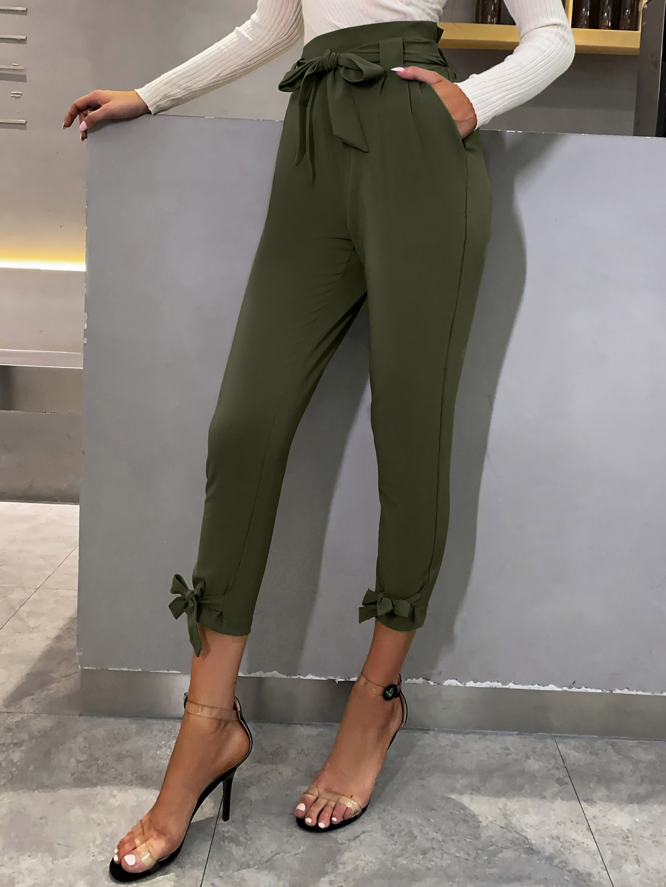 High Waist Belted Knotted Hem Cropped Pants thumbnail