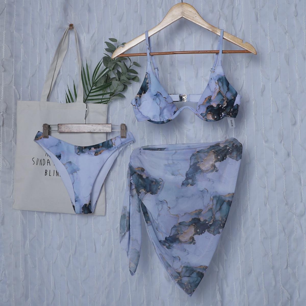 3 пакета бикини на косточках и пляжная юбка