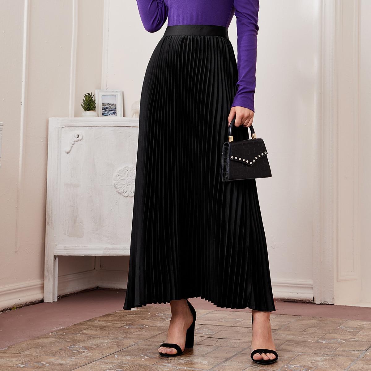 Однотонная плиссированная юбка макси