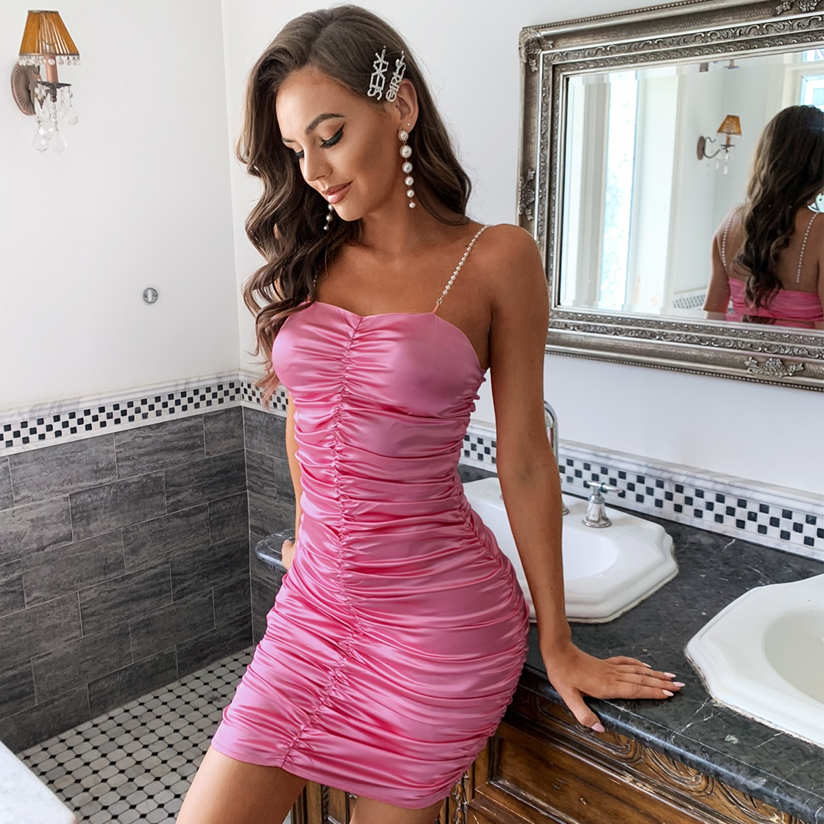 Pearl Strap Ruched Satin Dress