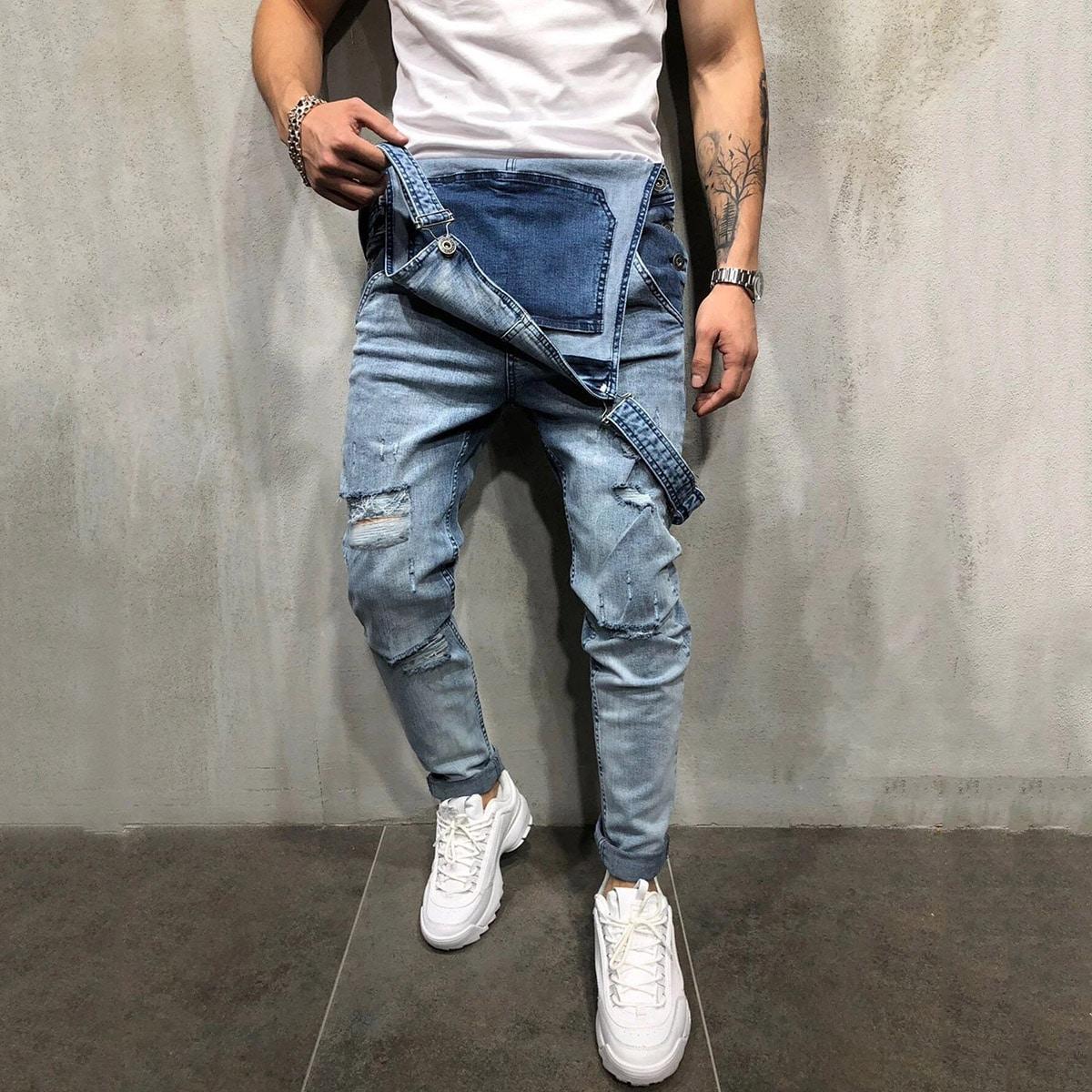 Мужские рваные джинсовые джинсы с подтяжками от SHEIN