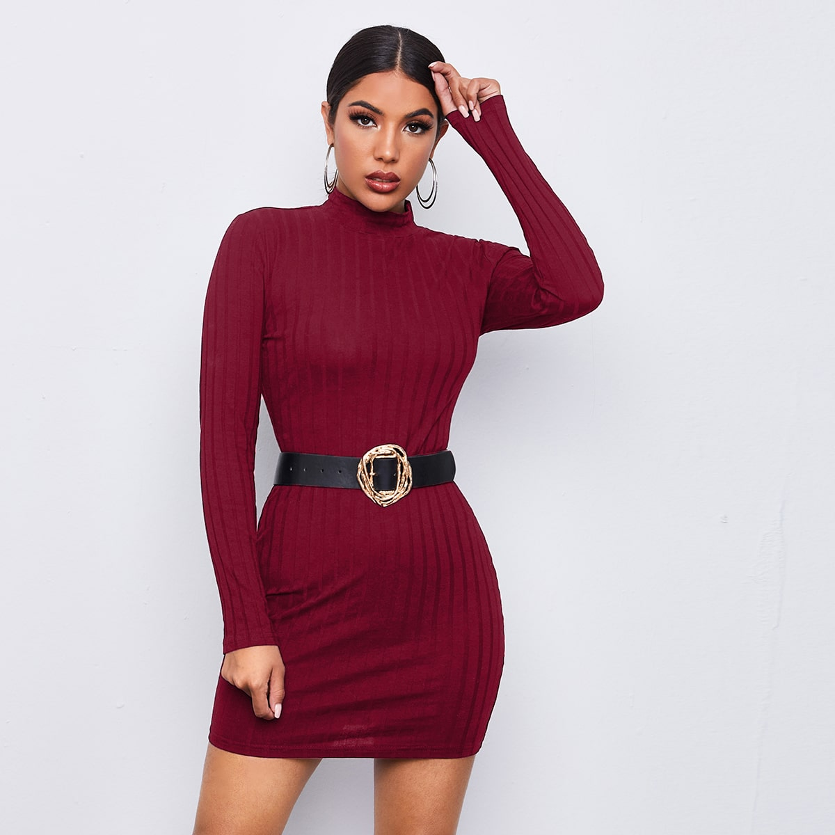 Mock-neck Rib-knit Bodycon Dress Without Belt