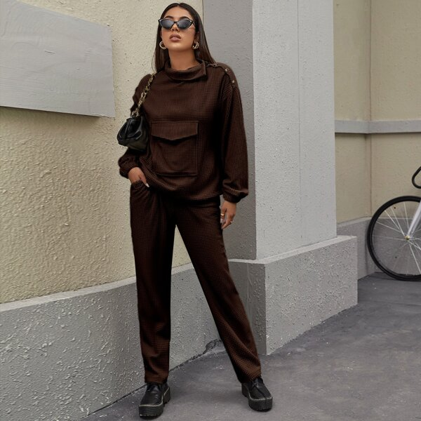 Funnel Neck Flap Pocket Pullover & Pants Set, Chocolate brown