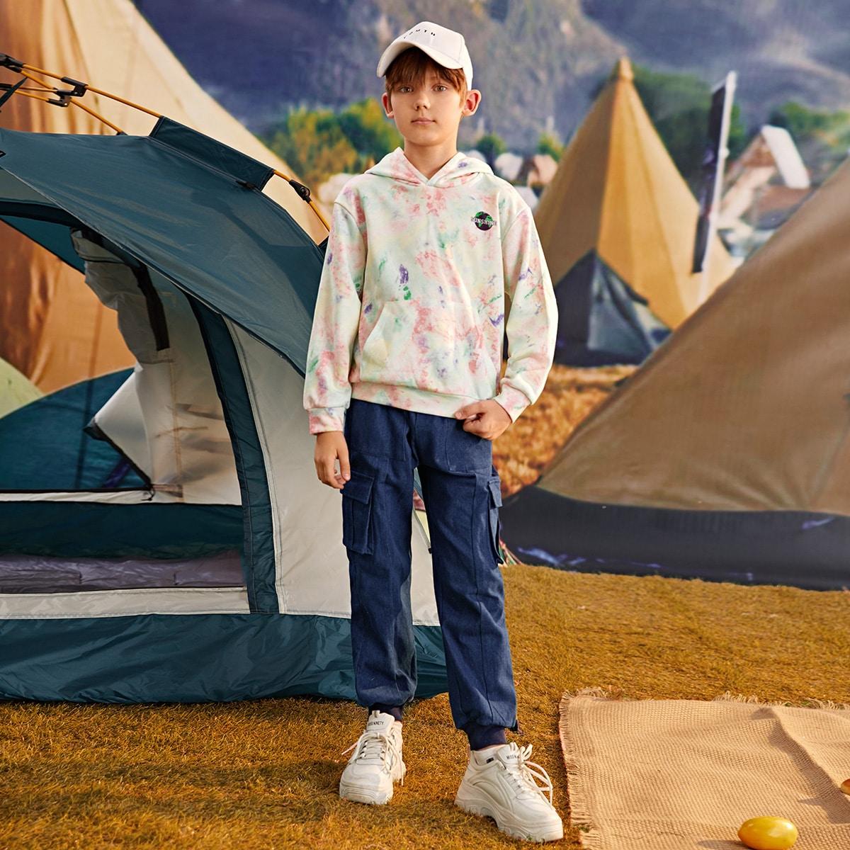 Boys Letter Graphic Tie Dye Hoodie & Cargo Pants Set