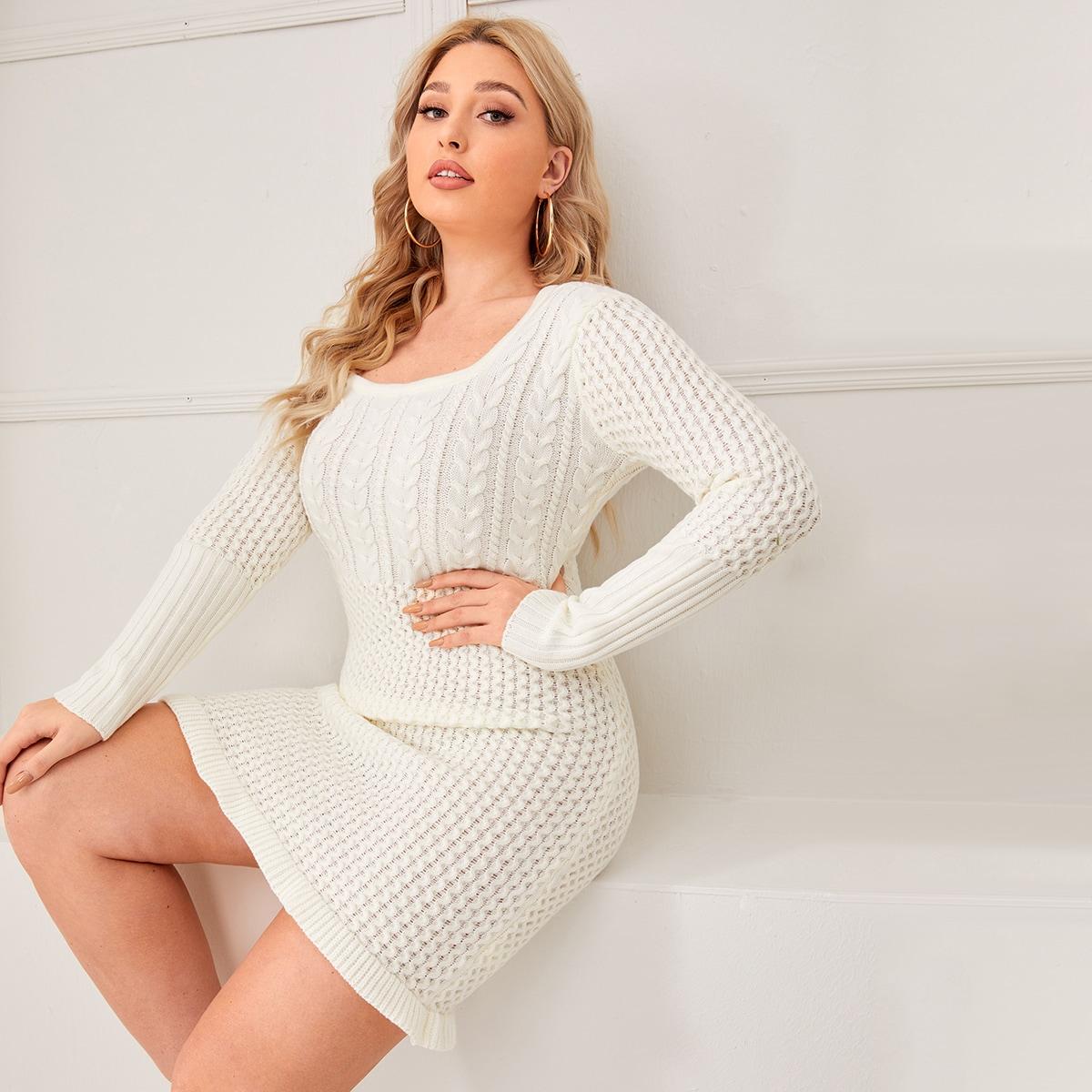 С оборками одноцветный повседневный свитер-платье размер плюс
