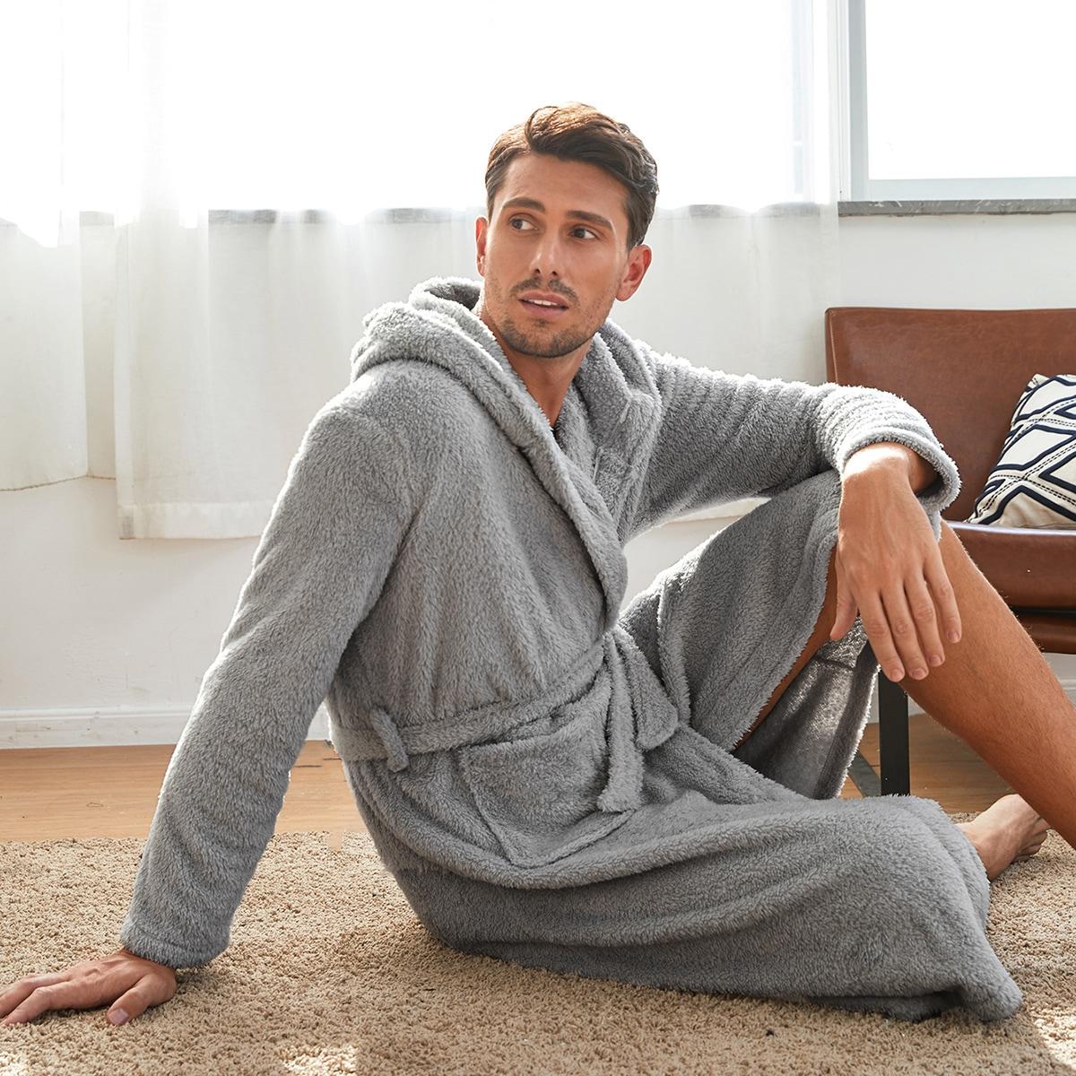 С карманами одноцветный повседневный мужская домашняя одежда