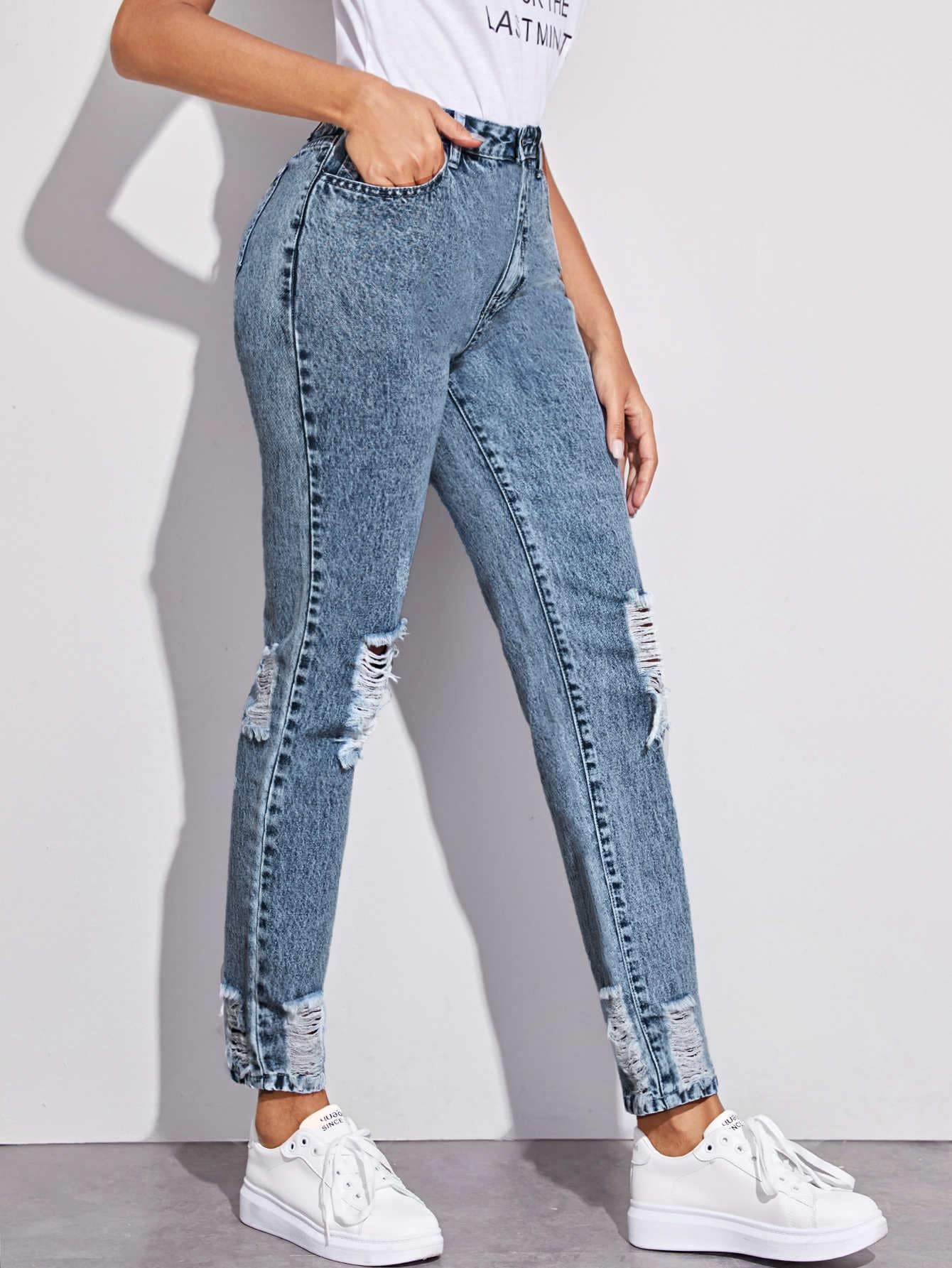 Snow Wash High-Rise Distressed Mom Jeans thumbnail
