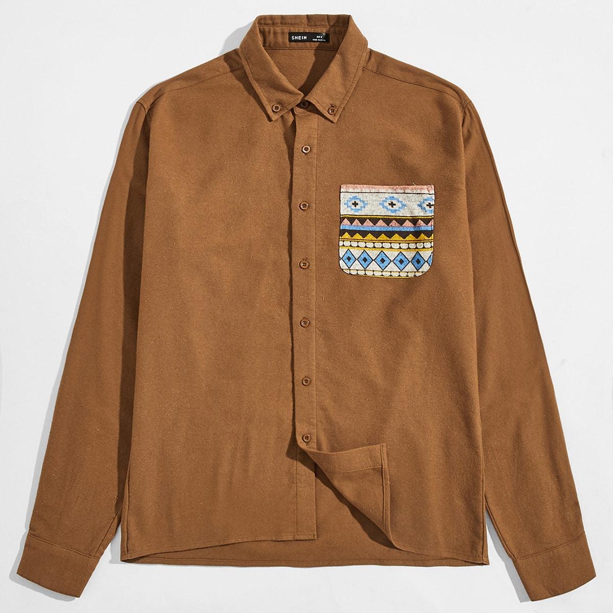 Карман геометрический повседневный мужские рубашки