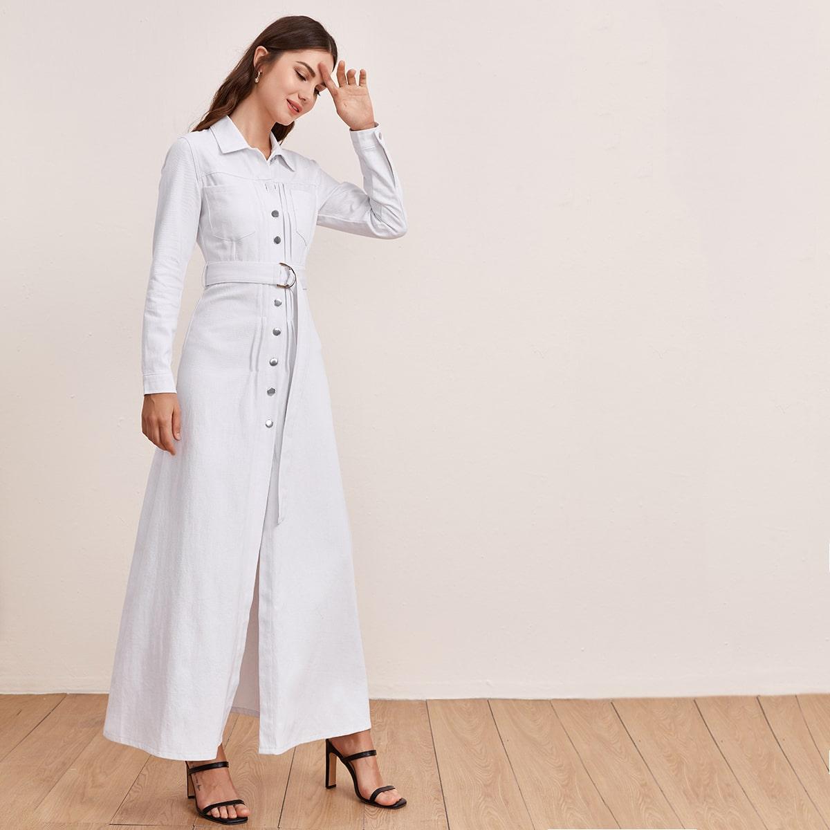 Джинсовое платье с пуговицами и поясом