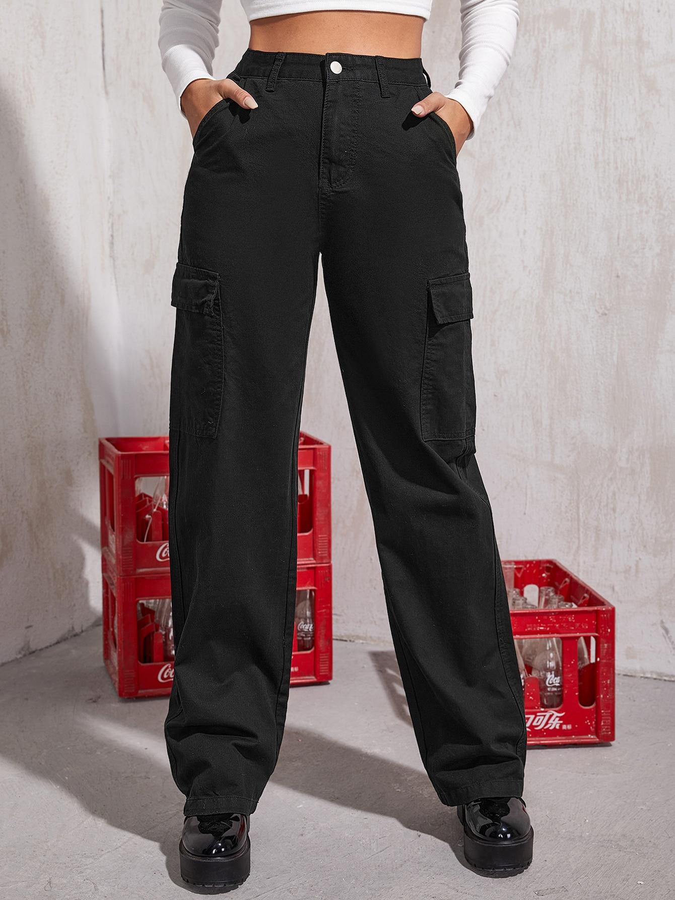 High Waisted Slant Pocket Cargo Jeans thumbnail
