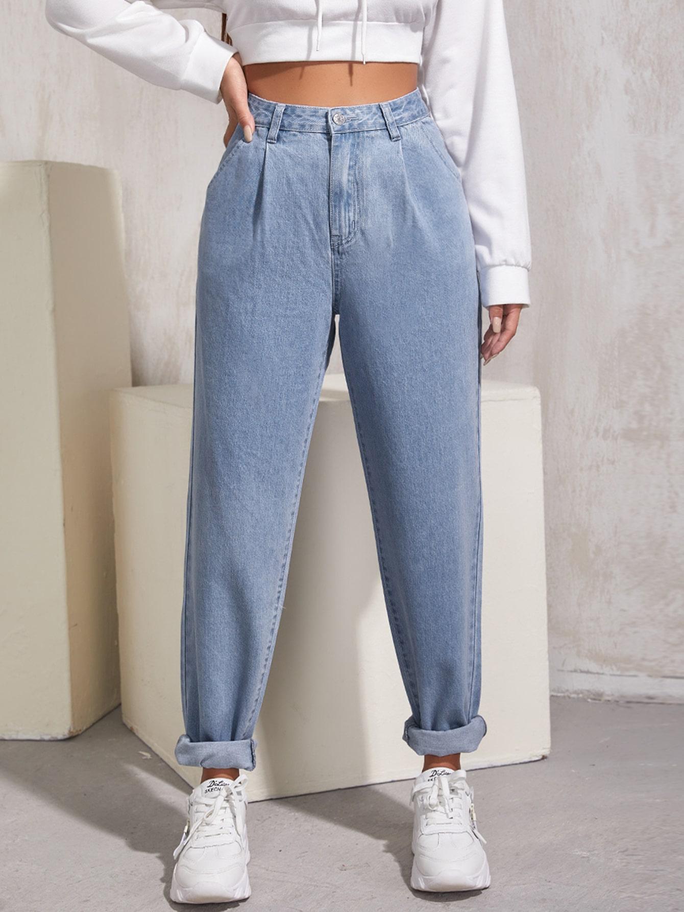 High Waist Fold Pleat Roll Hem Jeans thumbnail