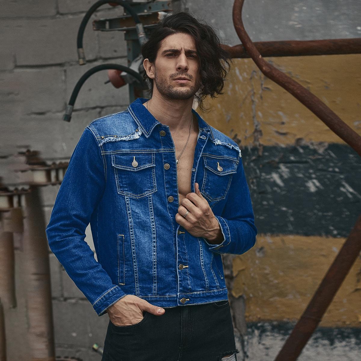 С карманами одноцветный мужские джинсовые куртки