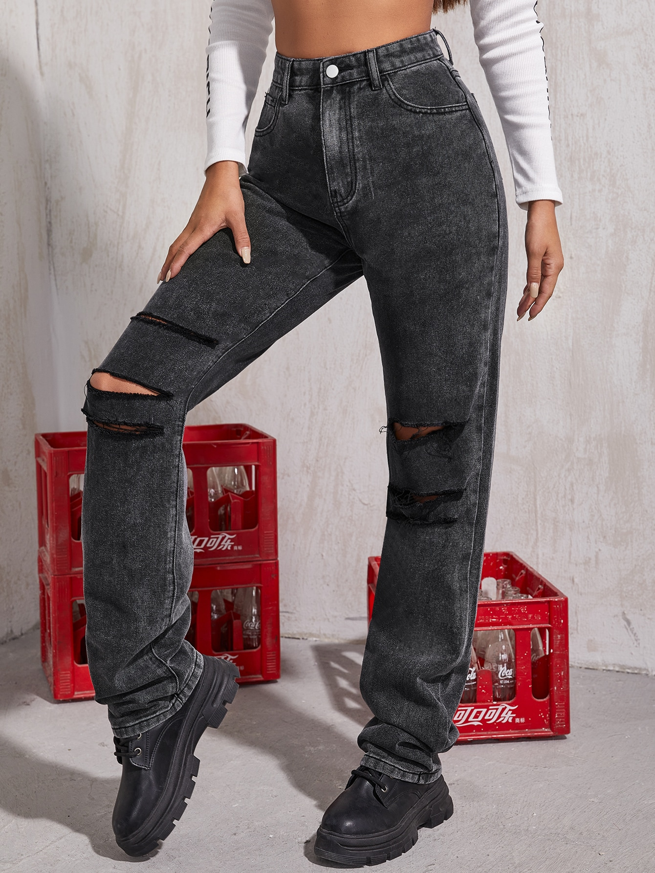 High Waisted Ripped Straight Jeans thumbnail