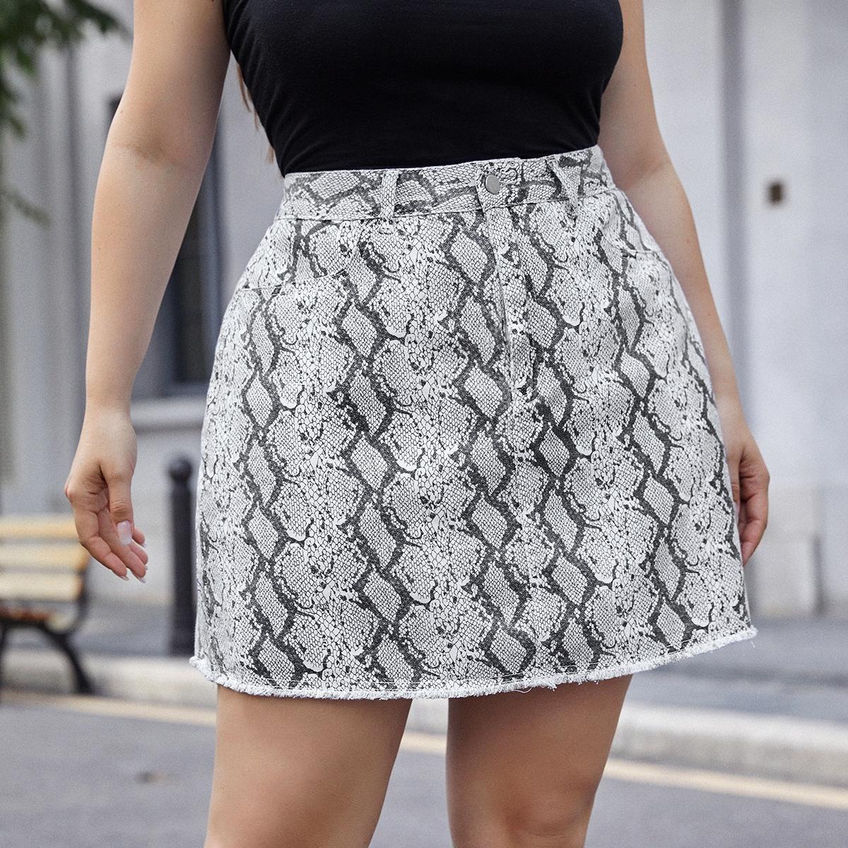 На молнии змеиный принт джинсовые юбки размер плюс