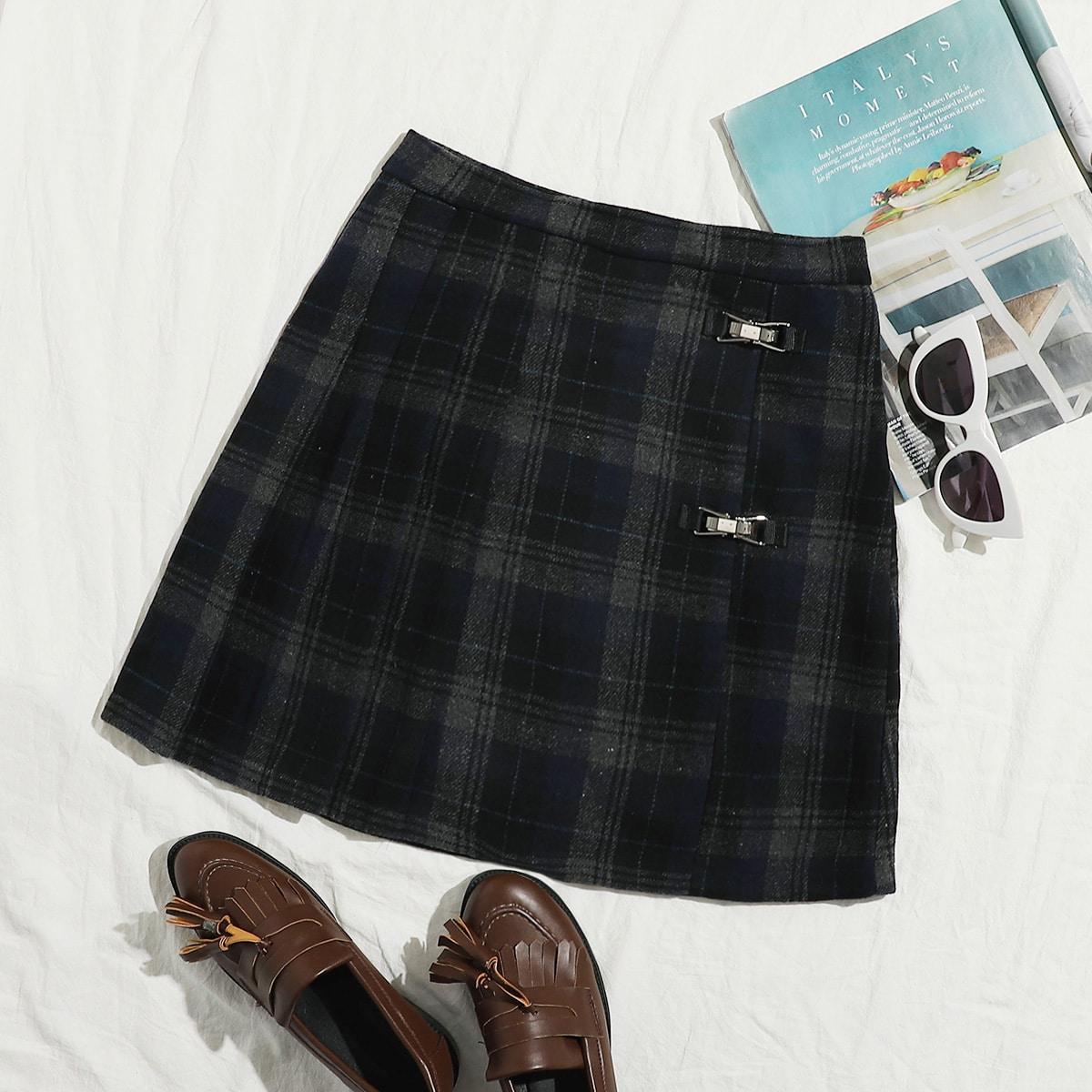 Buckle Detail Tartan A-line Skirt