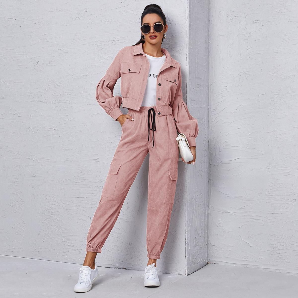 Вельветовая куртка и брюки карго с узлом SheIn swtwop23201021907