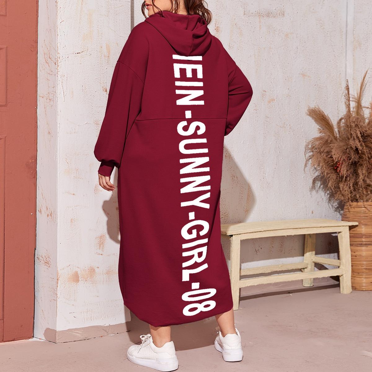 Платье размера плюс с капюшоном, карманом и текстовым принтом