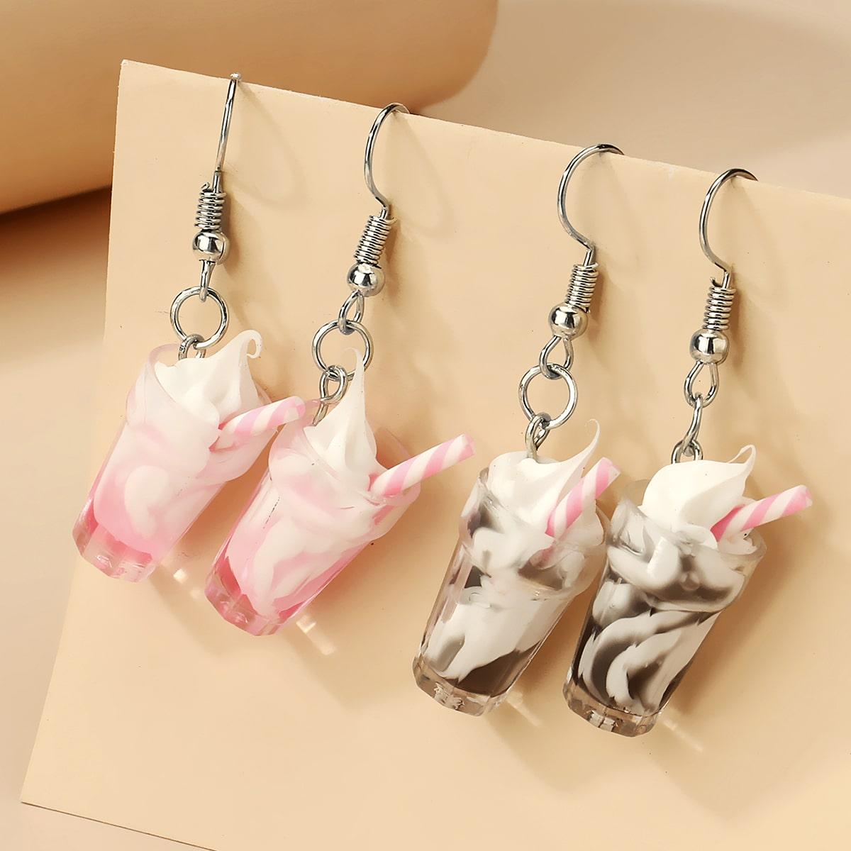 2 Paar Ohrringe mit Eiscreme Dekor