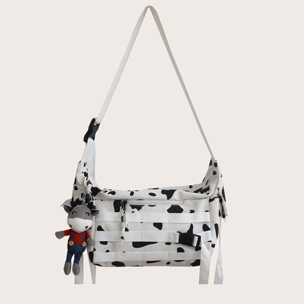 Cow Pattern Cartoon Charm Crossbody Bag