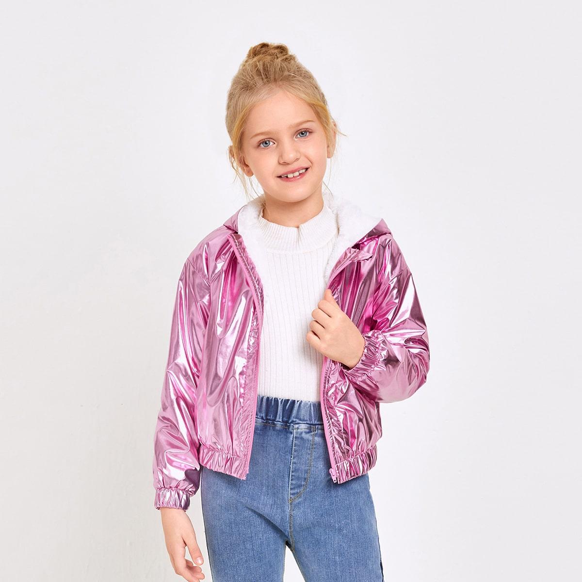 Куртка с подкладкой из овчины на молнии для девочек