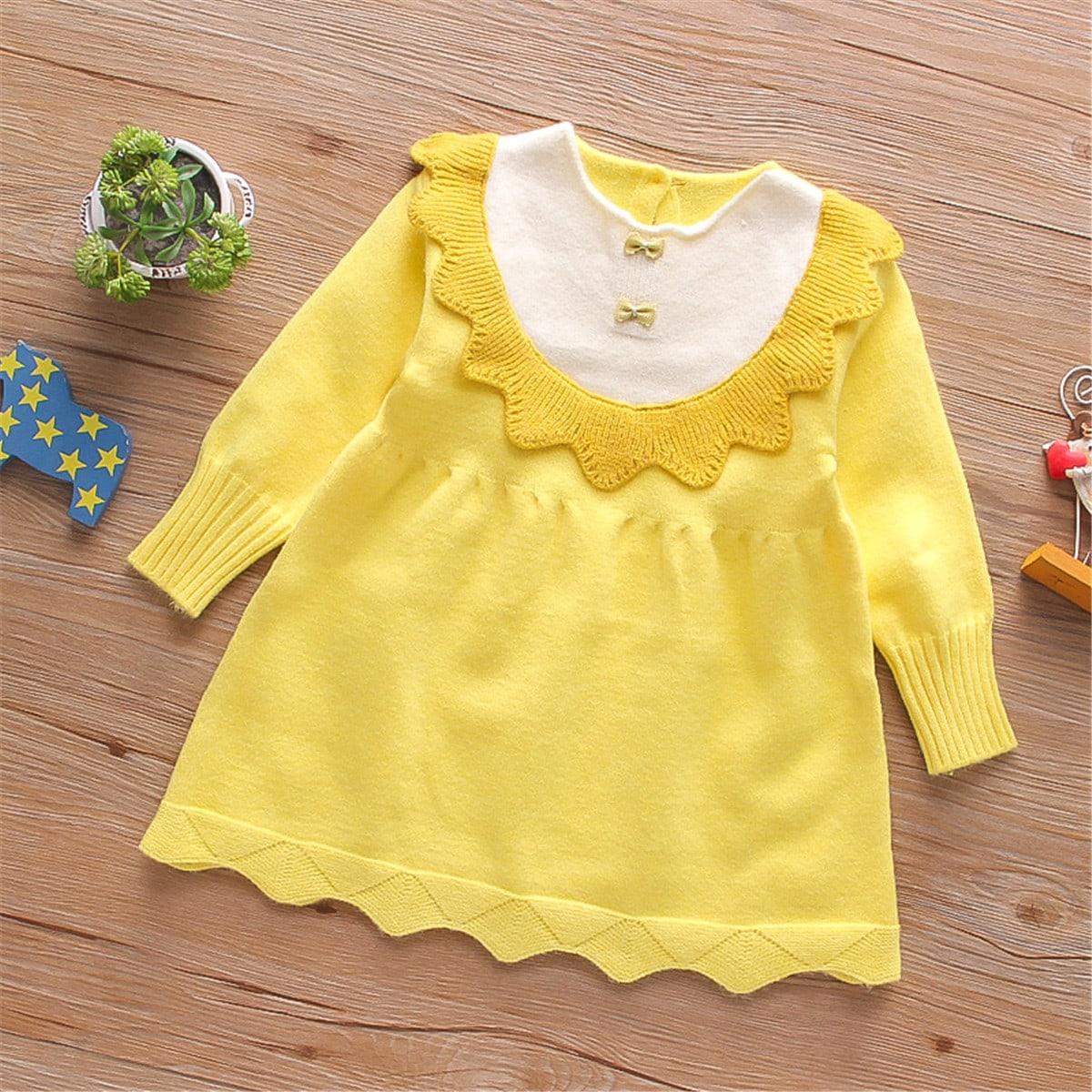 С фестонами контрастный цвет милый трикотажные платья для девочек