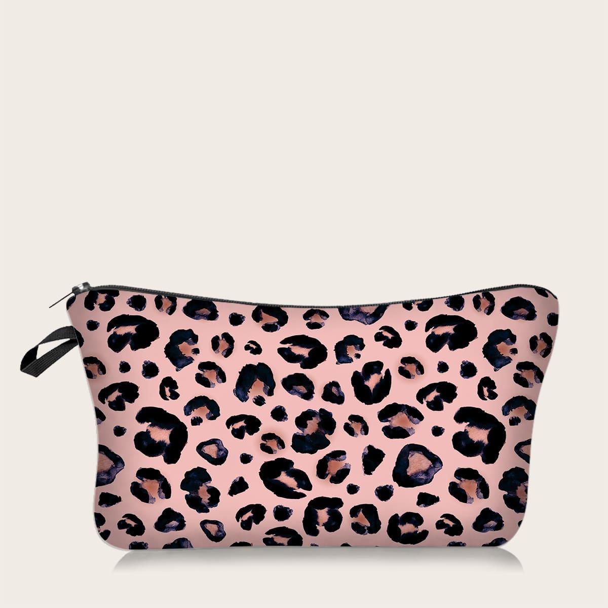 Косметическая сумка с леопардовым принтом