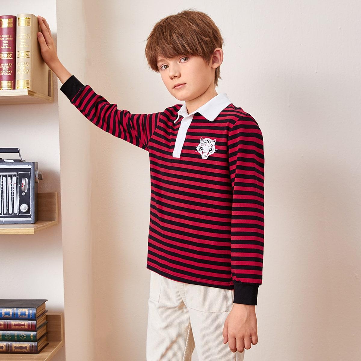 Пуговица животный повседневный рубашки поло для мальчиков