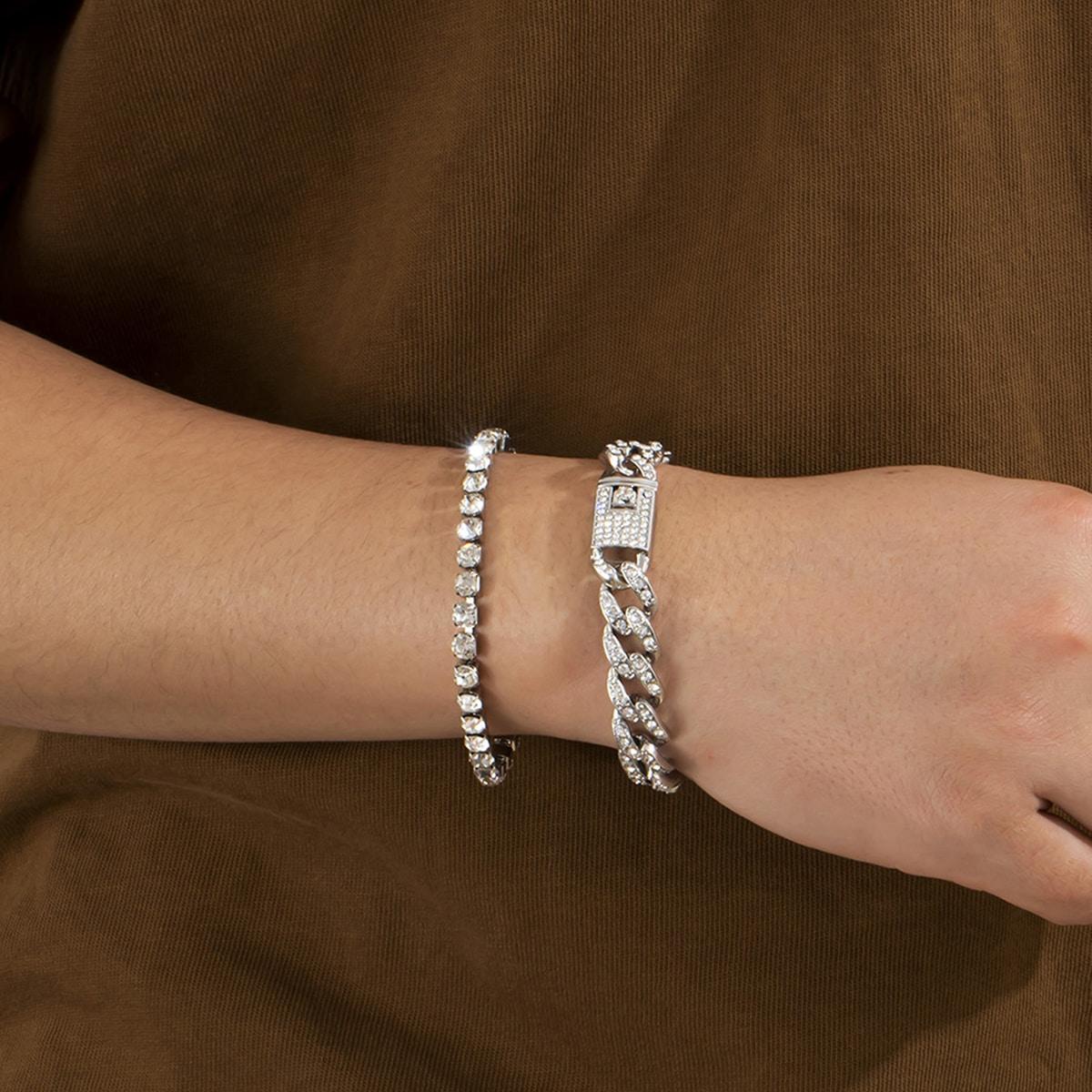 2pcs Men Rhinestone Decor Bracelet