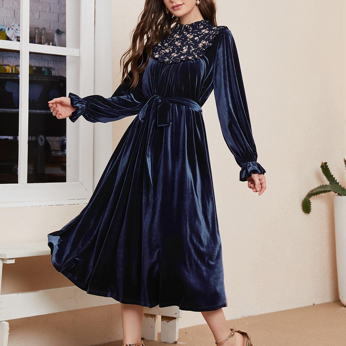 Оборка Цветочный принт Элегантный Платье