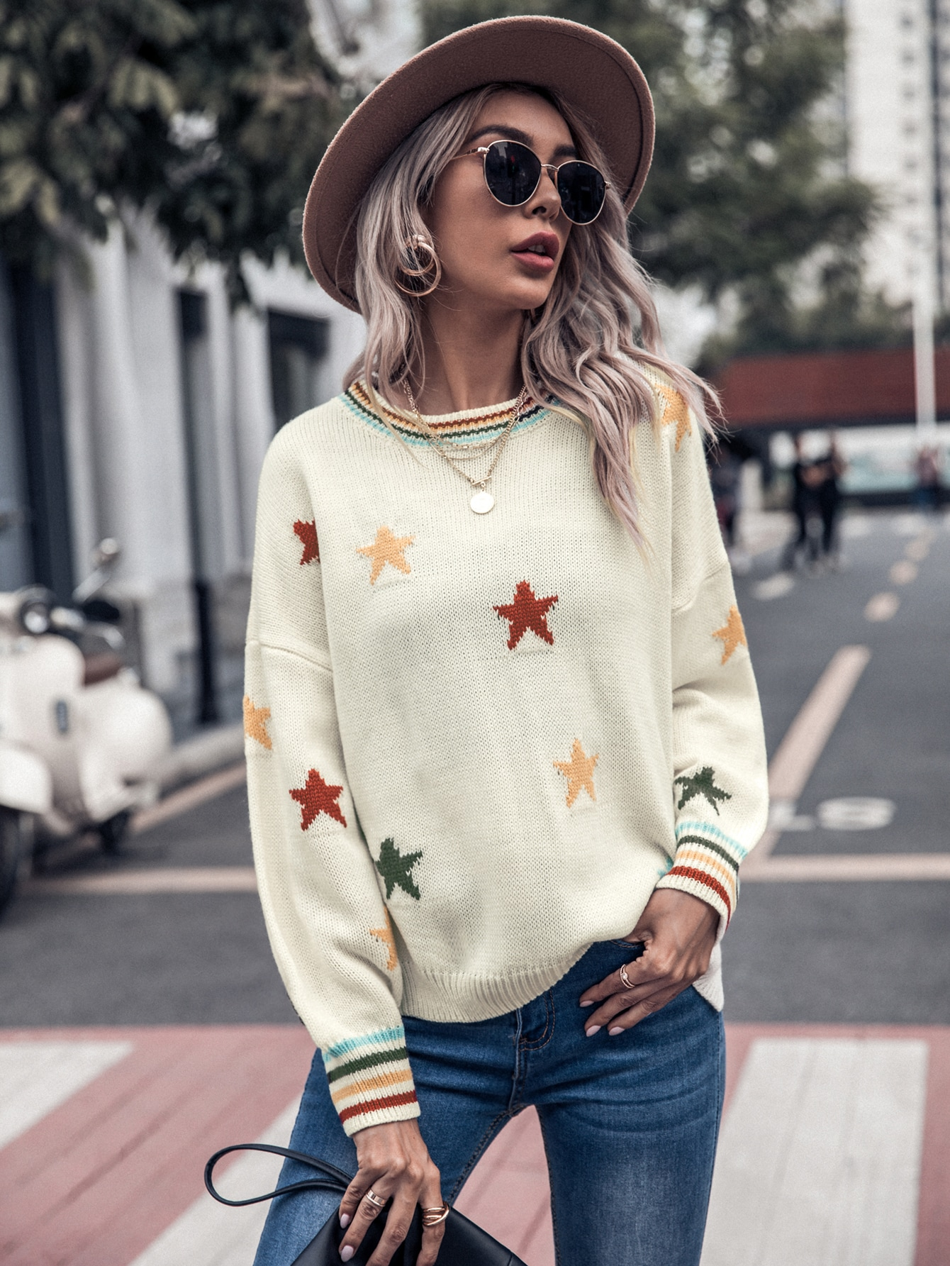 Striped & Star Pattern Oversized Sweater thumbnail