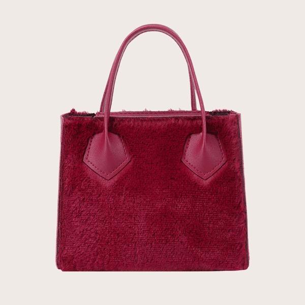 Minimalist Fluffy Satchel Bag, Red