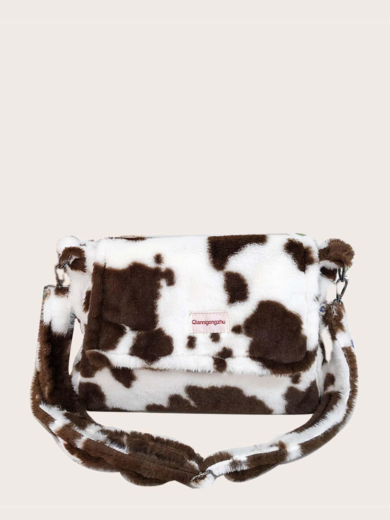 Fluffy Cow Pattern Flap Crossbody Bag thumbnail