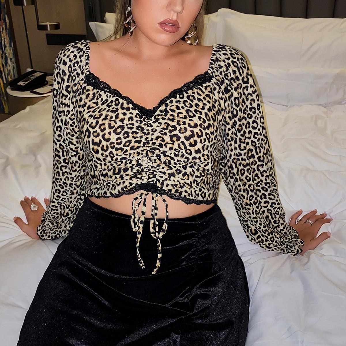Контрастные кружева леопард повседневный футболка размера плюс