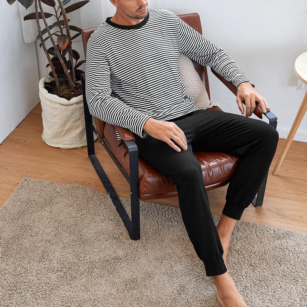 С карманами полосатый повседневный мужская домашняя одежда
