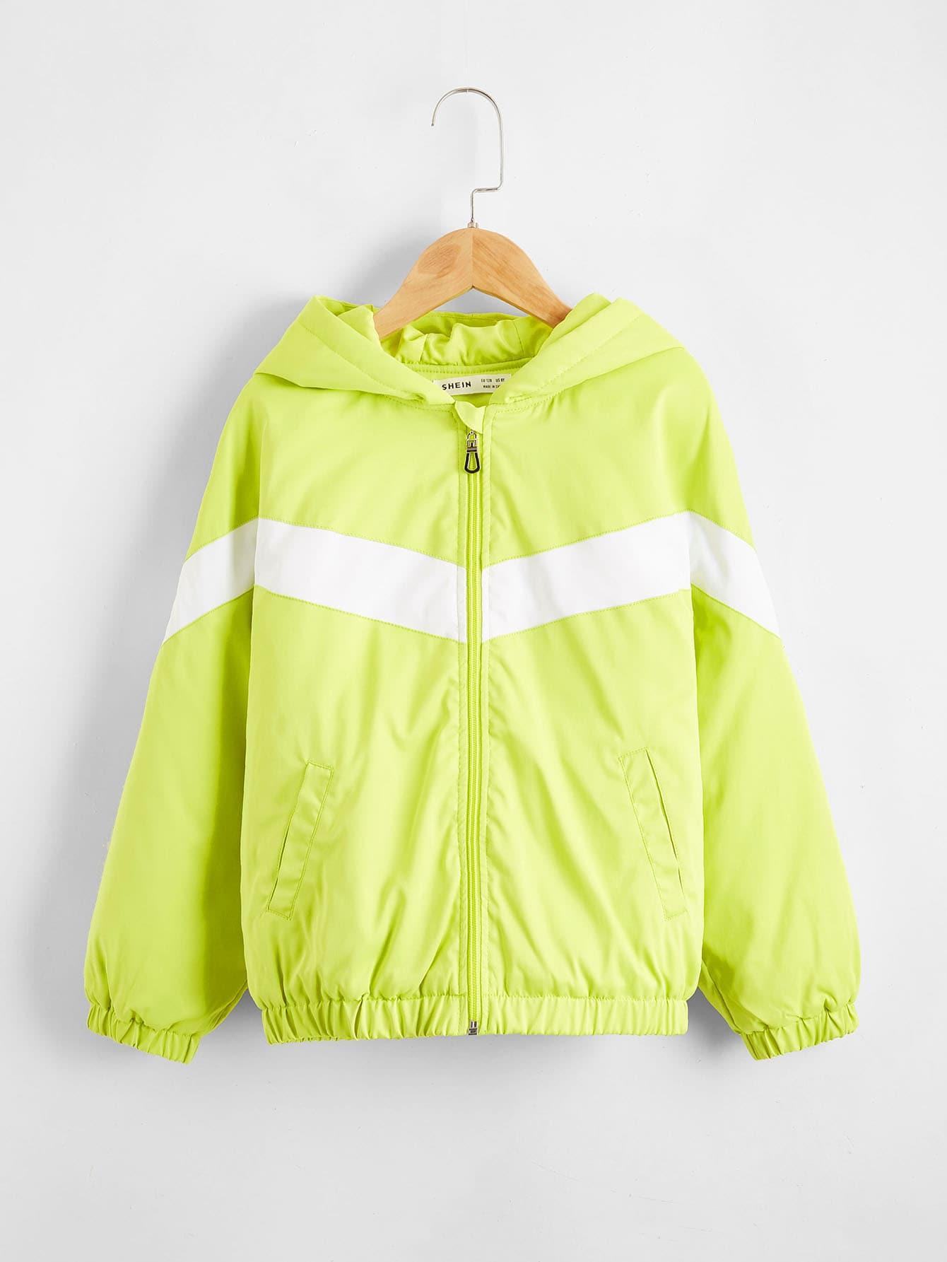 Boys Neon Lime Chevron Wind Jacket